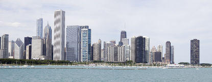 Panorama of Chicago skyscraper line view from planetarium. View from the lake side on the downtown Chicago.  The line of business buildings of downtown city of Royalty Free Stock Photos