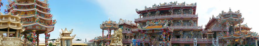 Panorama of Chinese temple Royalty Free Stock Photos