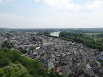 Panorama Chinon en rivier Wenen Stock Foto
