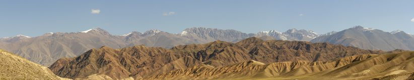 Panorama of Chu River Valley gorge in rural Kyrgyzstan stock photography