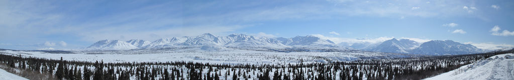 Panorama of Chugach mountains. In Alaska Stock Photo