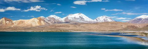 Panorama of Chungara lake, Chile. Panorama of Chungara lake, in Chile stock photo
