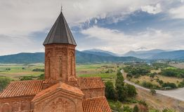 Panorama of the church of the Archangels in Kakheti. Georgia Stock Images