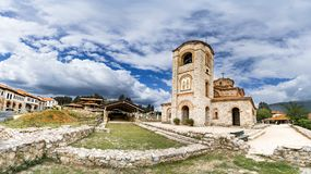 Panorama of The Church Clement and Panteleimon, Plaoshnik at the shore of Ohrid Lake. Is a UNESCO world heritage site Stock Images