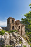 Panorama of Church of the Holy Mother of God in Asen`s Fortress and Rhodopes mountain, Asenovgrad, Bulgaria Royalty Free Stock Images