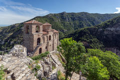 Panorama of Church of the Holy Mother of God in Asen`s Fortress and Rhodopes mountain, Asenovgrad, Bulgaria Stock Image