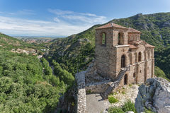 Panorama of Church of the Holy Mother of God in Asen`s Fortress and Rhodopes mountain, Asenovgrad, Bulgaria Stock Photo
