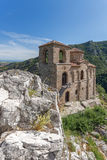 Panorama of Church of the Holy Mother of God in Asen`s Fortress and Rhodopes mountain, Asenovgrad, Bulgaria Stock Images