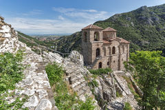 Panorama of Church of the Holy Mother of God in Asen`s Fortress and Rhodopes mountain, Asenovgrad, Bulgaria Royalty Free Stock Image