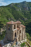 Panorama of Church of the Holy Mother of God in Asen`s Fortress and Rhodopes mountain, Asenovgrad, Bulgaria Stock Photography