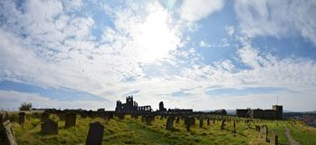 Panorama of Church of Saint Mary, Whitby, UK stock image
