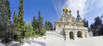 Panorama of Church of St. Mary Magdalene at Olives Mount of Jerusalem. Israel royalty free stock photo