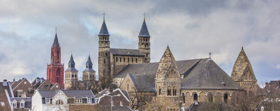 Panorama of Church towers in Maastricht Stock Photo