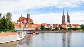Panorama with churches and Ostrow Tumski, Wroclaw Stock Image