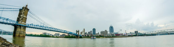 A panorama of Cincinnati Ohio  under a cloudy sky Stock Photo