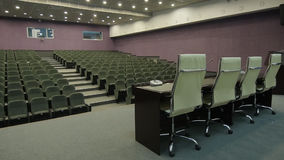 Panorama in Cinema Hall Throw  Leather Chair and Table on Scene stock footage
