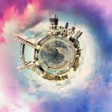 Panorama circulaire du ` s de Londres la plupart des attractions célèbres images stock