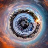 Panorama circulaire du ` s de Londres la plupart des attractions célèbres image libre de droits