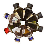 Wine bottles. Panorama circular.Several wine bottles closed with plugs on a white background royalty free stock image