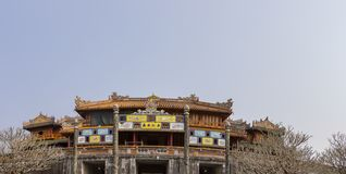 Panorama of Citadel of Hue Vietnam. Panorama of colorful rooftop on entrance to inner court of Citadel of Hue, Vietnam stock photos