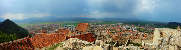 Panorama of the city. Panoramic view from Rasnov castle, Romania Stock Images