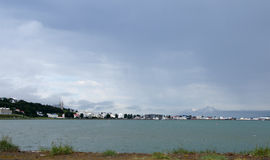 Panorama of the city of Akureyri in Iceland. View from the bay to the city Akureyri in Iceland stock images