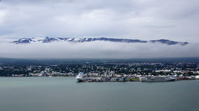 Panorama of the city of Akureyri in Iceland. View from the bay to the city Akureyri in Iceland stock image