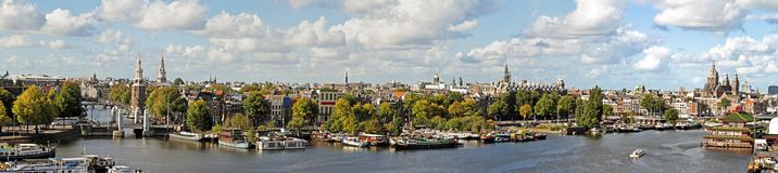 Panorama from the city Amsterdam Netherlands. Panorama from the city Amsterdam in the Netherlands Stock Photo