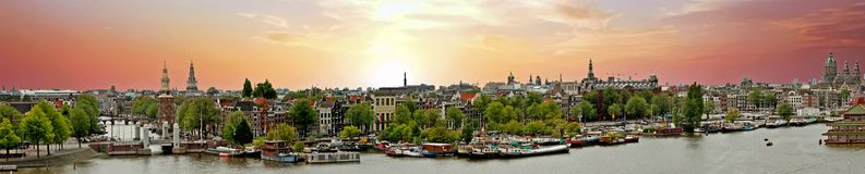 Panorama from the city Amsterdam in the Netherlands Stock Photography