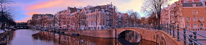 Panorama from the city Amsterdam in the Netherlands. At sunset Stock Photo