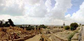 Panorama of city Ancient Ruins in old Carthage Tunisia Royalty Free Stock Photos