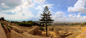Panorama of city Ancient Ruins in old Carthage Tunisia Stock Photography