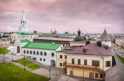 Panorama of the city. Anorama of the city and Spasskaya Tower of the Kazan Kremlin Royalty Free Stock Images