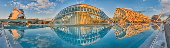 Panorama of City of Arts & Sciences complex in Valencia Royalty Free Stock Photos