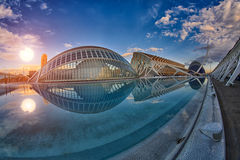 Panorama of City of Arts & Sciences complex in Valencia Royalty Free Stock Photography