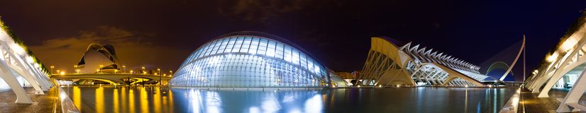 Panorama of City of Arts and Sciences. Valencia, Spain. VALENCIA, SPAIN - AUGUST 26: Panorama of City of Arts and Sciences on August 26, 2013 in Valencia, Spain royalty free stock photography