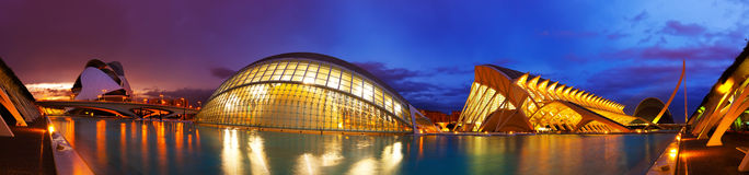 Panorama of City of Arts and Sciences  in Valencia Royalty Free Stock Image