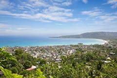 Panorama of the city of Baracoa, Cuba. Panorama of the city of Baracoa, encompassing lush green vegetation and stunning ocean shoreline views, Cuba stock images