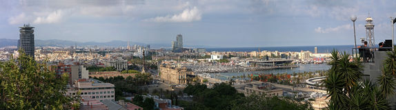 Panorama of the City of Barcelona. In late spring Royalty Free Stock Images