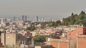 Panorama of the city of Barcelona from the top. Panorama of the city of Barcelona from the top stock footage