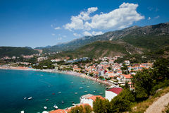 Panorama city beach, Montenegro Royalty Free Stock Photo