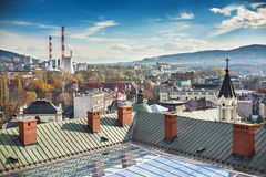 Panorama of city Bielsko-Biala. Visible CHP, and m Stock Photos