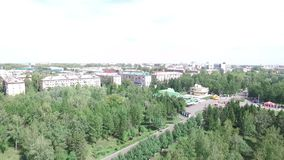 Panorama of the city from a bird's flight. Shooting from quadrocopter stock footage