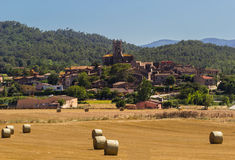 Panorama of the city of Bordils. In Catalonia, Spain royalty free stock photos