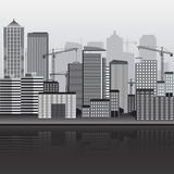 Panorama of city building with cranes Royalty Free Stock Photography