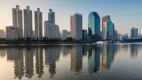 Panorama City building with water reflection Stock Photo