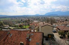 Panorama of city called GEMONA DEL FRIULI in Italy royalty free stock image