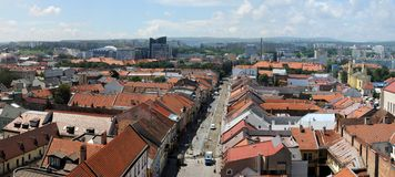 Panorama of city center in Kosice, Slovakia. Royalty Free Stock Image