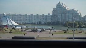 Panorama of the city center of Minsk. Park and pond. stock footage