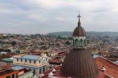 Panorama of the city center with old houses Santiago de Cuba, Cuba stock image